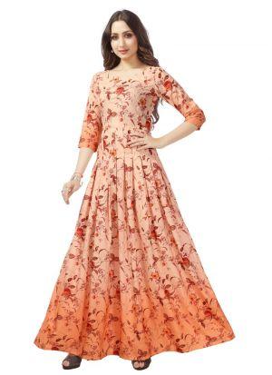 Designer Occasion Wear Orange Pure Heavy Rayon Kurti