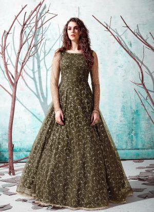 Designer Olive Green Metalic Foil Gown