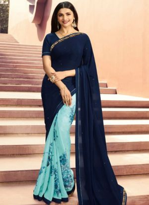 Designer Partywear Printed Navy And Sky Blue White Rangoli Fancy Saree