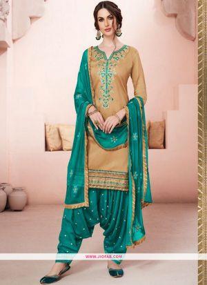 Designer Rama Embroidered Glaze Cotton Indian Salwar Suit