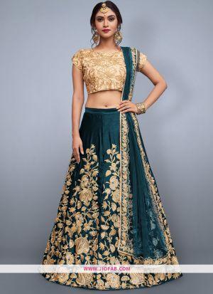 Designer Rama Green Embroidered Velvet Silk Bridal Anarkali Lehenga
