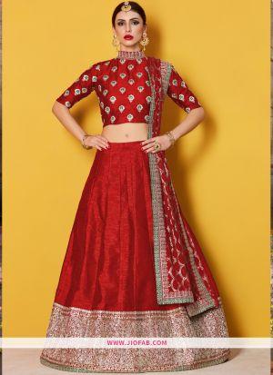 Designer Red Embroidered Art Silk Wedding Anarkali Lehenga