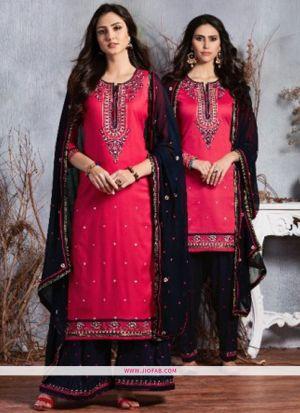 Designer Red Embroidered Glaze Cotton Indian Salwar Suit
