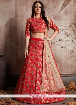 Designer Red Embroidered Raw Silk Bridal Anarkali Lehenga