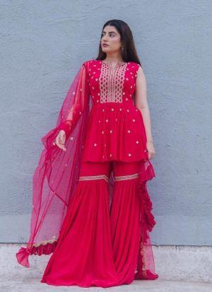 Designer Red Georgette Palazzo Suit