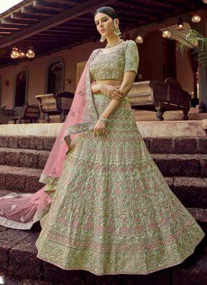 Designer Resham Work Pastle Green Lehenga Choli