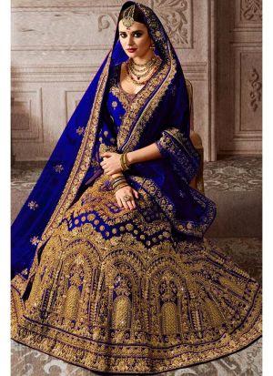 Designer Royal Blue Kerala Silk Diamond Work Wedding Lehenga Choli With Mono Net Dupatta