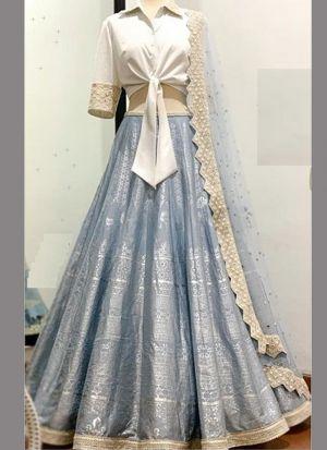 Designer Steel Blue Slub Silk Foil Printed Lehenga Choli