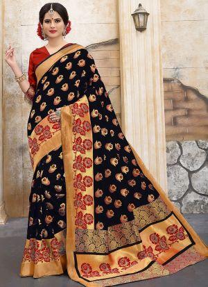Designer Wedding Black Banarasi Silk Saree