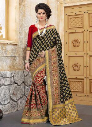 Designer Wedding Black Red Banarasi Silk Saree
