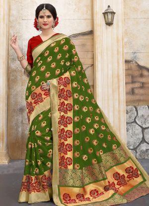 Designer Wedding Mehandi Banarasi Silk Saree