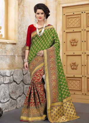 Designer Wedding Red And Green Banarasi Silk Saree