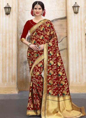 Designer Wedding Red Banarasi Silk Saree