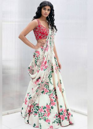 Designer White Italian Silk Digital Printed Lehenga Choli