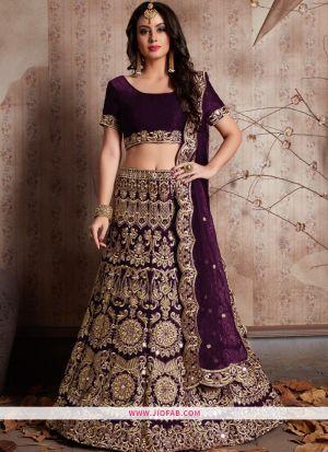 Designer Wine Embroidered Velvet Silk Wedding Anarkali Lehenga