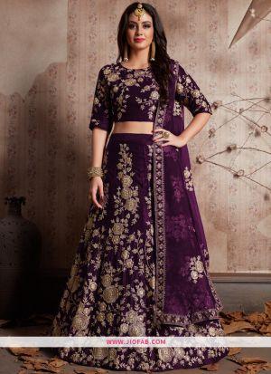 Desirable Purple Embroidered Velvet Silk Partywear Lehenga Choli