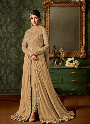 Desire Dusty Cream Embroidered Slit Anarkali Suit