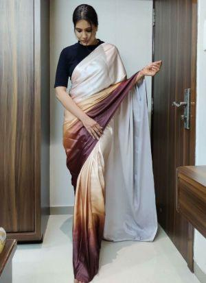 Digital Printed Brown Designer Saree