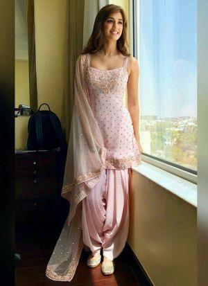 Disha Patni Fame Baby Pink Zari Work Georgette Salwar Suit