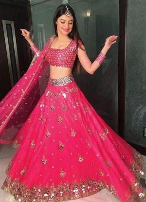 Divya Khosla Kumar Hot Pink Lehenga Choli