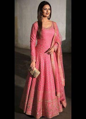 Divyanka Tripathi Pink Sequence Salwar Suit