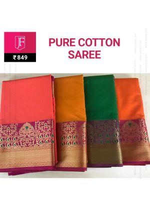 Diwali Collections Pure Cotton Jaquard Zari Border Saree With Chit Pallu