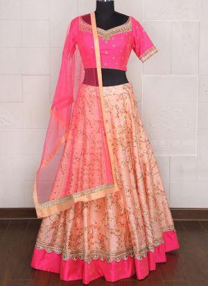 Diwali Festive Special Peach Color Brocket Print Designer Lehenga Choli