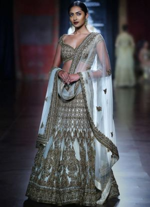 Diwali Festive Special Sky Blue Heavy Embroidery Designer Bridal Lehenga Choli