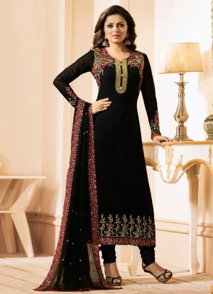 Drashti Dhami Black Embroidered Georgette Salwar Suit