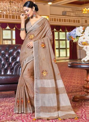 Dusty Brown Embroidery Work Saree