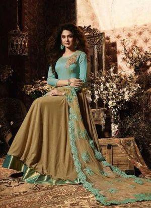 Dusty Cream Lycra Bollywood Anarkali Suit