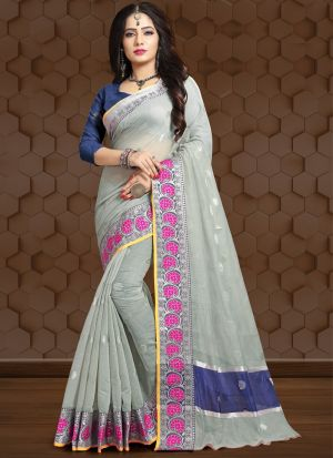 Dusty Grey Traditional Wear Saree In Linen Fabric