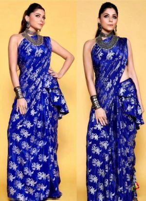 Elegant Blue Crystel Silk Party Wear Saree