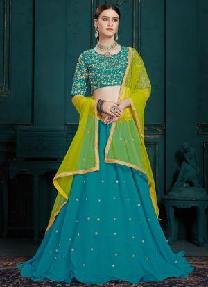 Elegant Collection Georgette Peacock Blue Designer Lehenga Choli