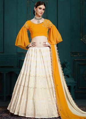 Elegant Collection Georgette White Designer Lehenga Choli