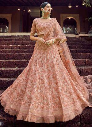 Elegant Georgette Peach Resham Work Lehenga