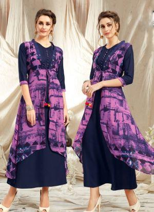 Elegant Look Rayon Multi Colour Kurti With Printed Jacket