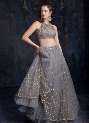 Elegant New Butterfly Mono Net Grey Sequence Lehenga Choli