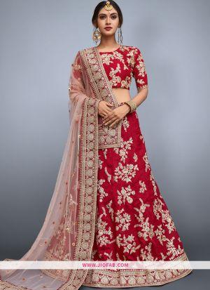 Elegant Red Embroidered Art Silk Wedding Lehenga