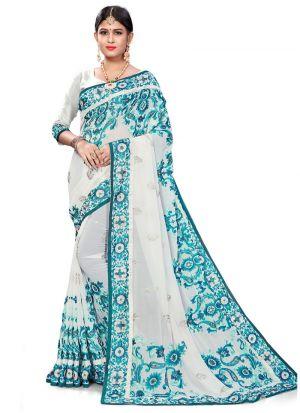 Elegant White Wedding Wear Bemberg Saree