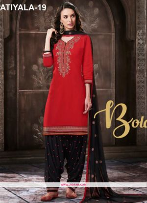 Embroidered Glace Cotton Designer Patiala Salwar Suit In Red Color