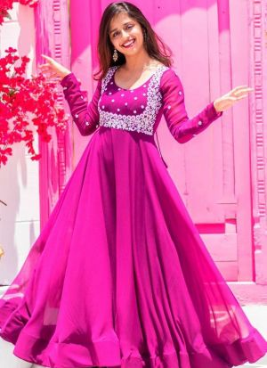 Embroidered Magenta Anarkali Gown