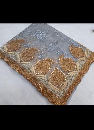 Embroidered Work Grey Net Saree