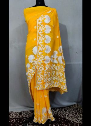 Embroidery Georgette Saree In Yellow