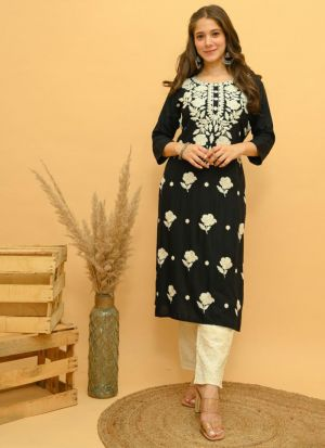 Embroidery Work Black Rayon Suit