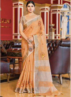 Embroidery Work Light Orange Saree