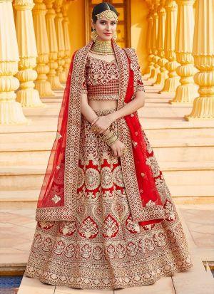 Embroidery Work Red Bridal Lehenga Choli