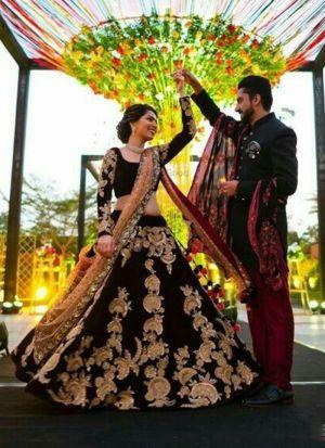 Engrossing Maroon Velvet Wedding Lehenga