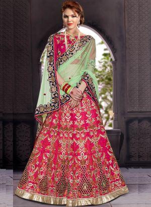 Excellent Pink Traditional Wear Slub Silk Lehenga Choli