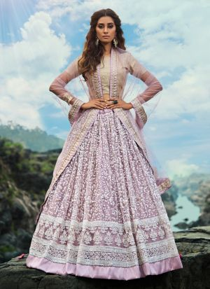 Excellent Soft Net Lilac Party Wear Zari Work Lehenga Choli